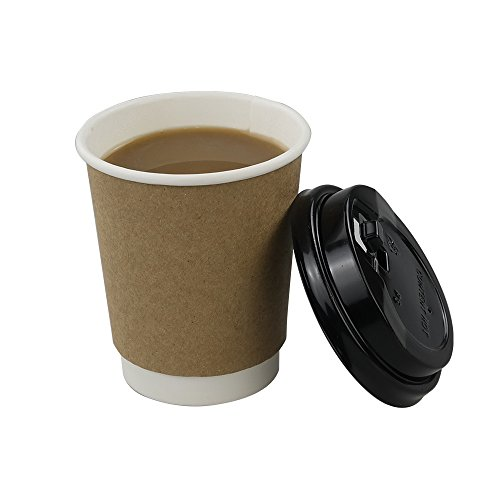 HOMMP 8 Oz Disposable Hot Coffee Paper Cups with Lids and Cup Sleeves, 50 Counts/ Box (Paper Coffee Cups 8 Oz Lids compare prices)