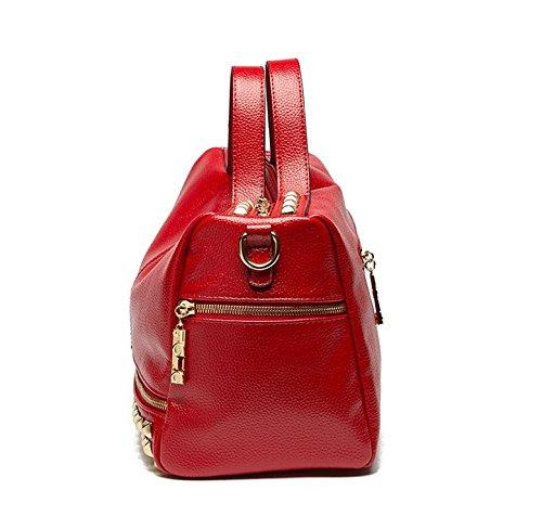 HandbagCrave® Dora Faux Leather ecopelle rivetti Sacchetto di spalla del sacchetto di Hobo del (argento)