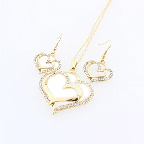 Clearance! Luxury Crystal Double Heart Pendant Chain Necklace Earrings Set Wedding Jewelry Gift for Women Bride Bridesmaid (Gold)