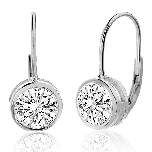 (MIA SARINE 8mm Round Bezel Set Solitaire Cubic Zirconia Leverback Earrings for Women in Rhodium Plated Sterling Silver (White))