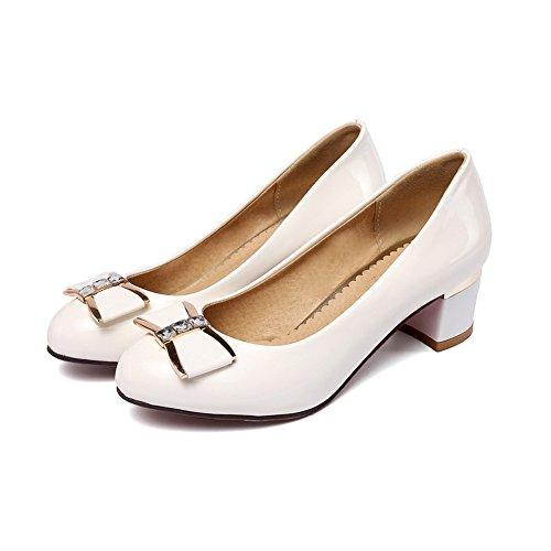 Balamasa Girls Metal Bowknot Glass Diamond Chunky Heels Imitated Leather Pumps-shoes Bianco