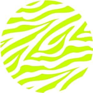White and Lime Green Zebra Print / Stripe Polka Dots Wall Decor Stickers