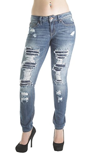 Destroyed House (PK2312 – dollhouse, Destroyed Ripped and Repair Premium Skinny Jeans in Washed M. Blue Size 9)