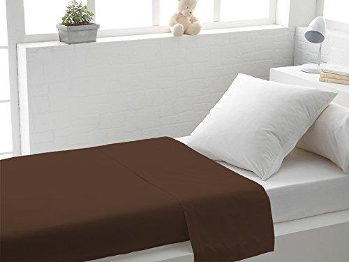 Soleil docre 213805 Drap Plat Coton 57 Fils Uni Chocolat 180x290 cm