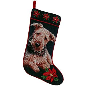 EC Airedale Terrier Christmas Stocking 100% Wool Hand-Stiched Needlpoint: Precious 24
