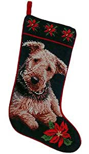 Airedale Terrier Christmas Stocking 100% Wool Hand-Stiched Needlpoint: Precious