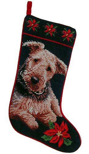 Airedale Terrier Christmas Stocking 100% Wool Hand-Stiched Needlpoint: (Wool Pet Stocking)