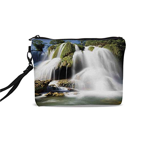 (Waterfall Simple Cosmetic Bag,Majestic Waterfall Flowing on Cliff Rocks in Rural Town Wild Nature Art Image for Women,9