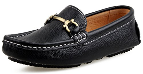 SKOEX Boy's Leather Loafers Slip On Boat Shoes US Size 2.5M,Black -