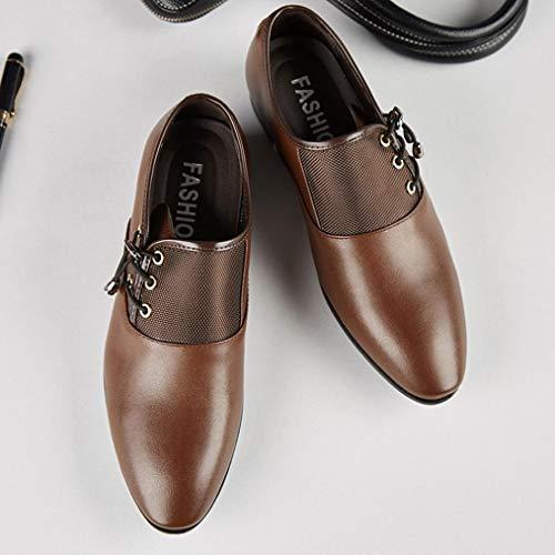 Boda Cordones Hombre Oxford QinMM Negocios Marrón Zapatos Calzado Cuero Vestir 4Zxa0