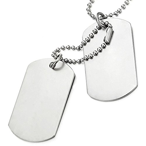COOLSTEELANDBEYOND Classic Two-Pieces Mens Dog Tag Pendant Necklace with 28 inches Ball Chain
