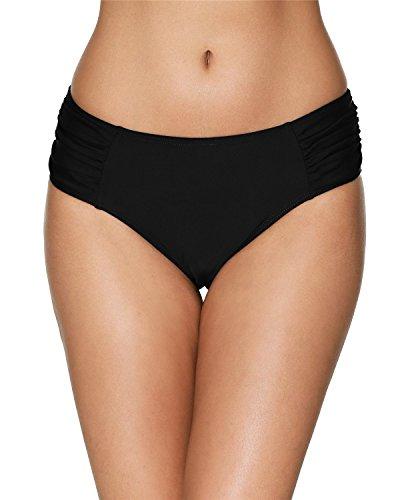 (anfilia Women Black Bikini Shorts Hipster Swim Briefs Swim Bottoms)