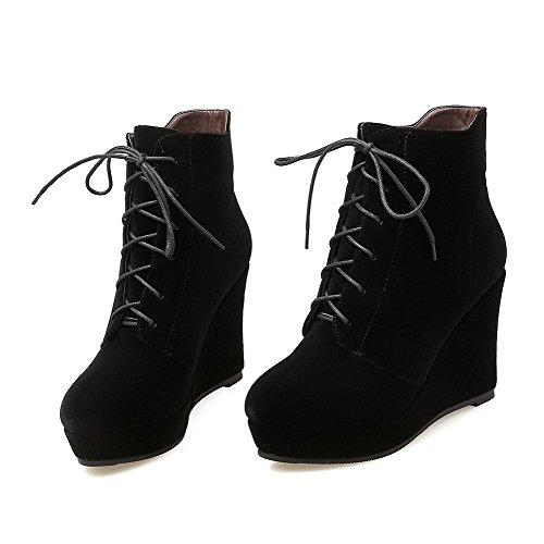 Women's Imitated Suede Low-top Solid Lace-up High-Heels Boots