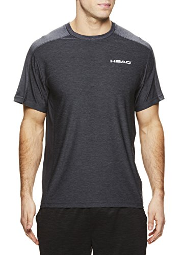 HEAD Men's Crewneck Gym Training & Workout T-Shirt - Short Sleeve Activewear Top - Stage Ebony Heather Black, Small -