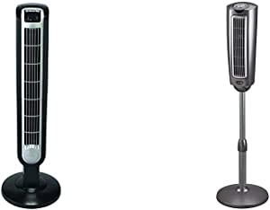 Lasko 2511 36″ Tower Fan with Remote Control & 2535 52″ Space-Saving Pedestal Tower Fan with Remote Control - Features Built-in Timer and Wide Spread Oscillation