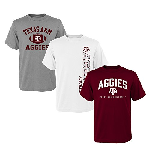 Outerstuff NCAA Youth Boys 8-20 Texas A&M 3Piece Tee Set, S(8), Assorted