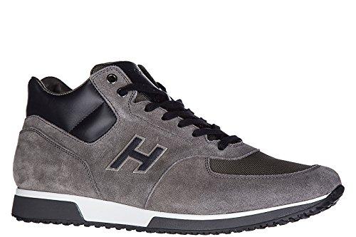 Hogan zapatos zapatillas de deporte hombres en ante nuevo h198 mid cut gris