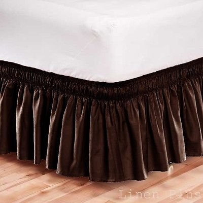 Elastic Bed Skirt Dust Ruffle Easy Fit /Full Size/Brown by LINEN