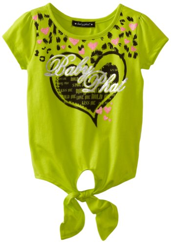 Baby Phat Little Girls' Print Tee With Tie, Acid Lime, 4
