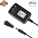 12V 2A Adapter,AC 100-240V to DC Switching Regulated Converter Power Supply with Wall Plug for 5050 3528 SMD LED strip Light Transformer,CCTV Security Camera System,2pcs 5.52.1MM DC Connector,2Pack