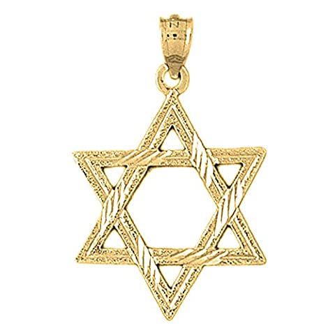 Yellow Gold-plated 925 Silver 33mm Star of David Pendant Necklace (Star Of David Silver Pendant)