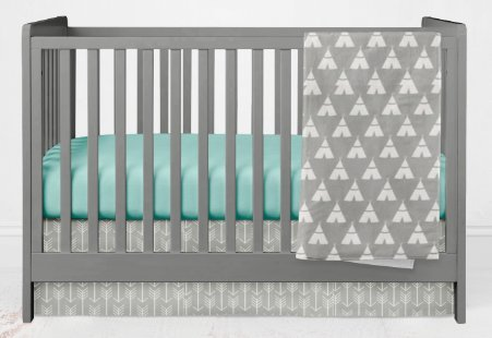 Crib Bedding Set- Gray and Mint teepees and Arrows - 3 Piece gender neutral crib bedding set- Handmade in the USA by Woodland Baby Co.
