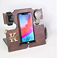 Personalized Cell Phone Docking Station, Gift for Men, Universal Cell Phone Dock, for Dad, Men, Husband, Boyfriend, Stand/Holder/Valet, Charging Station, Compatible with All Phones