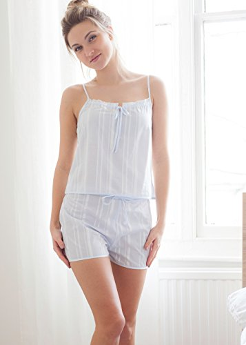 Cotton Real Damen Schlafanzug Weiß Weiß Medium
