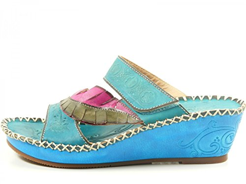 Laura Vita HJB501-2 Blake 02 Zuecos fashion de cuero mujer Türkis