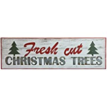 """Creative Co-Op XM1406 Home for The Holidays 47.5""""L Wood """"Fresh Cut Christmas Trees"""" Wall Decor"""