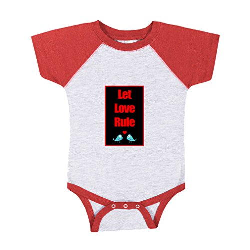 Raglan Banner (Blue Birds On Small Banner Let Love Rule Baby Baseball Raglan Bodysuit Gray/Red 18 Months)