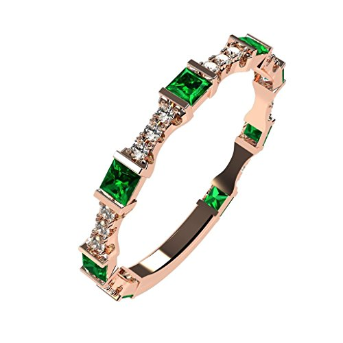 NANA Silver Stackable Ring Baguette Cut Rose Gold Flashed - Size 8 - Simulated Emerald - May Birthstone - Swarovski Emerald Ring