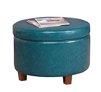 Super Homepop Round Leatherette Storage Ottoman With Lid Teal Theyellowbook Wood Chair Design Ideas Theyellowbookinfo