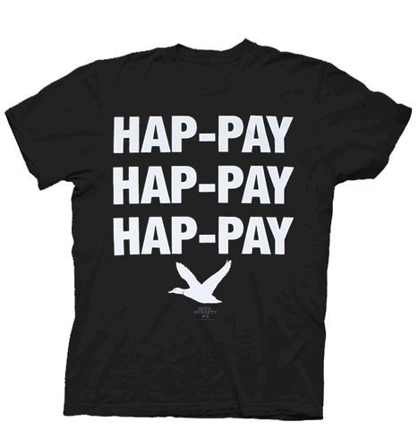 (Duck Dynasty Phil Robertson Hap-Pay Hap-Pay Hap-Pay Duck Adult T-Shirt- Black; X-Large)