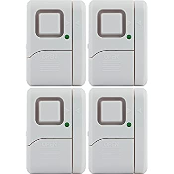 GE Personal Security Window/Door Alarm, DIY Home Protection, Burglar Alert, Magnetic Sensor, Off/Chime/Alarm, Easy Installation, Ideal for Home, Garage, Apartment, Dorm, RV and Office, (4 pack), 45174