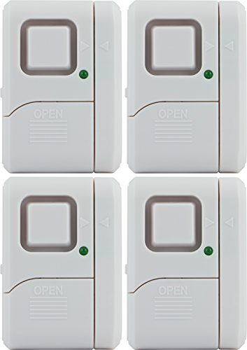 GE Personal Security Window/Door Alarm, 4-Pack, DIY Home Protection, Burglar Alert, Wireless Alarm, Off/Chime/Alarm, Easy Installation, Ideal for Home, Garage, Apartment, Dorm, RV and Office, 45174 ()