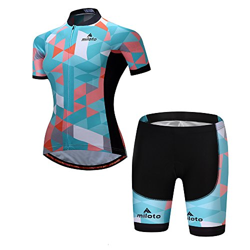 MILOTO Women's Cycling Jersey Reflective Shirt Padded Shorts Set (M, Robin Egg -