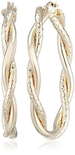 14k Yellow Gold Italian Twisted Hoop Earrings - 14k Gold Twisted Hoop Earrings