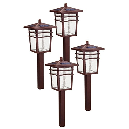 Square Mission Outdoor Bronze LED Solar Pathway Light Kit (4-Pack)