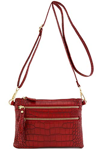Crocodile Multi Zipper Pocket Small Wristlet Crossbody Bag (Crocodile Red) (Multi Pocket)
