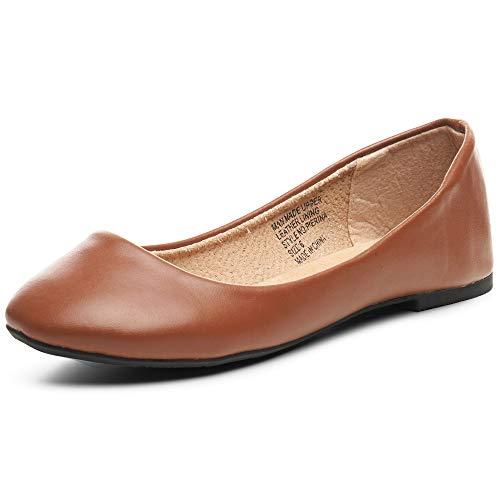 alpine swiss Womens Brown Leather Pierina Ballet Flats 7 M US