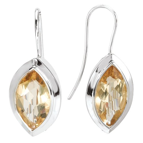 - 925 Sterling Silver Marquise-Shaped Honey Quartz Wire Earrings