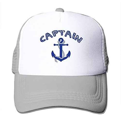 Anchor Chain White Cap (MZONE Personalized Two-toned Caps Captain With Ships Anchor 2 Dancing Caps Ash)