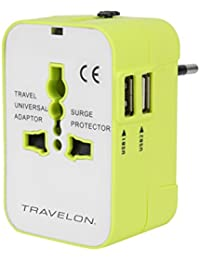 Worldwide Adapter with Dual USB Charger, Green