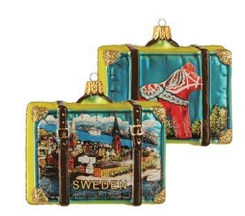 Sweden Suitcase Red Dala Horse Polish Glass Christmas Ornament Travel Souvenir (Sweden Dala Horse)