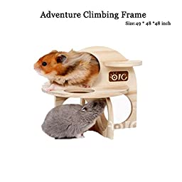 Wooden Rodent Pet Gerbil Mouse Rat Hamster Guinea Pigs Ladder Climbing Toys (Gnawing Bedroom)
