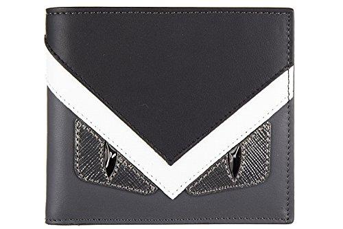 Fendi men's genuine leather wallet credit card bifold centuty elite occhi mostro