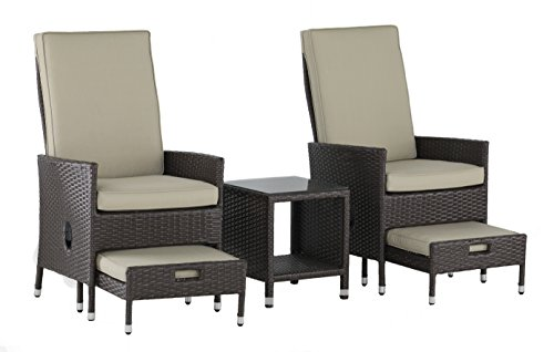 Serta Laguna Outdoor 5 Piece Reclining Set Brown Wicker, One Size, Beige (Ottoman Reclining Set)