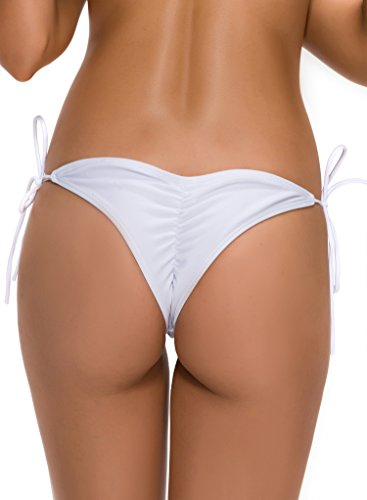 FanShou Women's Sexy Solid Tie-side Triangle Briefs Thong Bikini Bottom White S