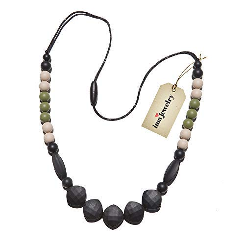 BPA Free Silicone Teething Necklace for Mom to Wear | Oral Sensory Chew Beads - Safe for Baby | Black, Green, Off White